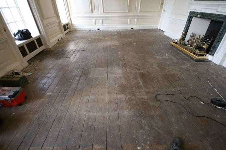Oak flooring restoration - work begins
