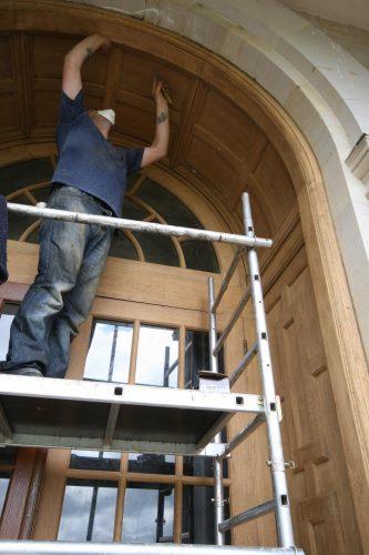 Oak door restoration - arch