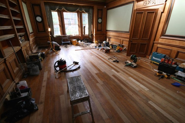 Oak floor - restoration in progress