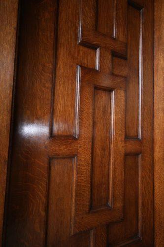 Oak door restoration - completed left side
