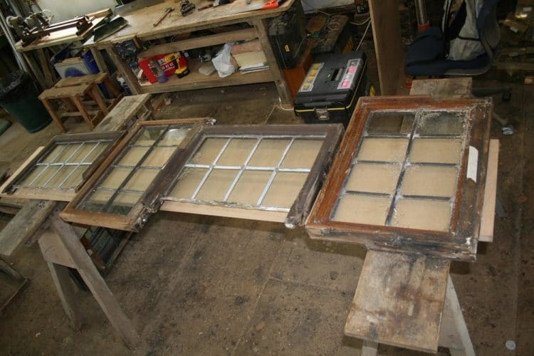 Wood window restoration - removed frames