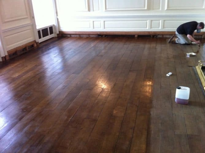 Oak flooring restoration and conservation - partially complete