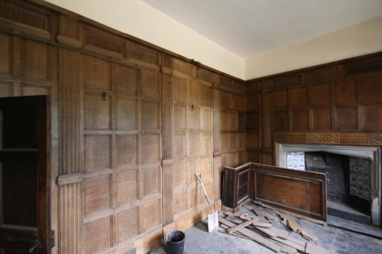Wood panelling restoration, before work started