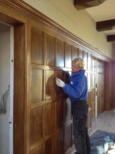 Wood panelling restoration country manor - Vincent at work