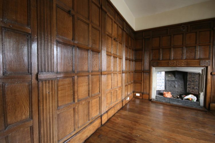 Restored wood panelling at Groombridge house