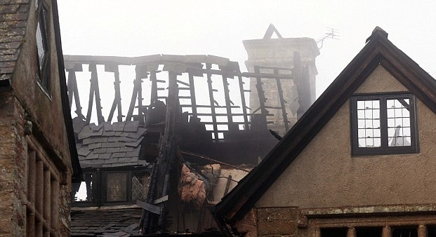 Surviving Oak roof structure of Sydenham House, Devon after the fire in 2012