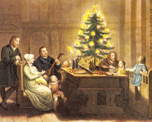 Martin Luther and his Family with their Christmas Tree 1536 - from Sartain