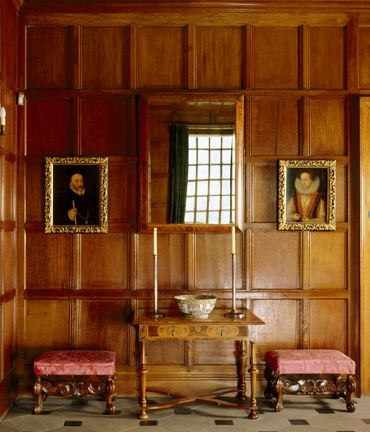 Typical 16th century panelling in jointed and pegged framing at Dunham Massey